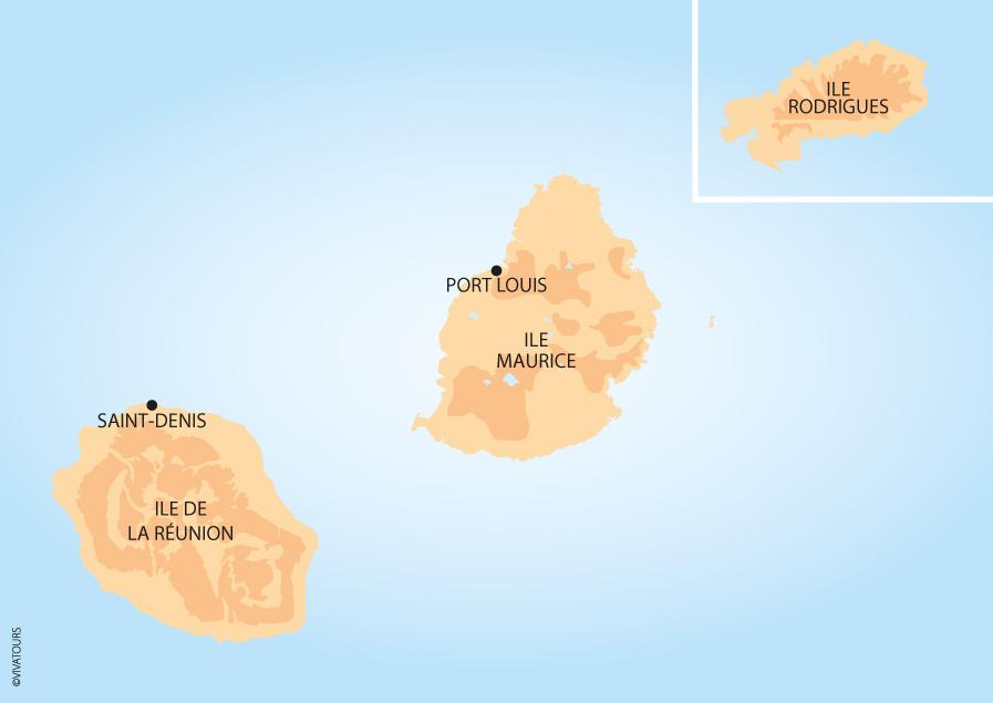 Carte Reunion Maurice.Voyage Vivatours Ile Maurice
